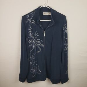 Travelers By Chicos Sweater  Zip Up Floral #155